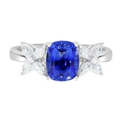 2.16ct Sapphire Ring with 0.46tct Diamonds Set in 14k White Gold