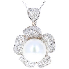 2.17 Carat Diamond and South Sea Pearl 18 Karat White Gold Pendant