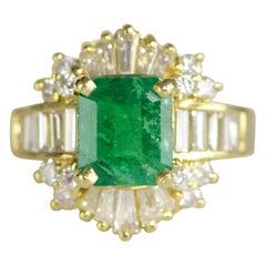 2.17 Carat Emerald and Diamond Gold Ring