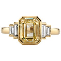 2.17 Carat GIA Certified Emerald Cut Diamond Set in an 18 Karat Yellow Gold Ring