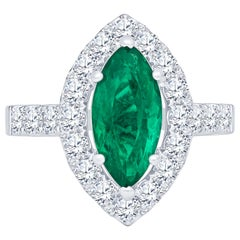 2.17 Carat Marquise Columbian Emerald and 1.40 Carat Diamond Engagement Ring