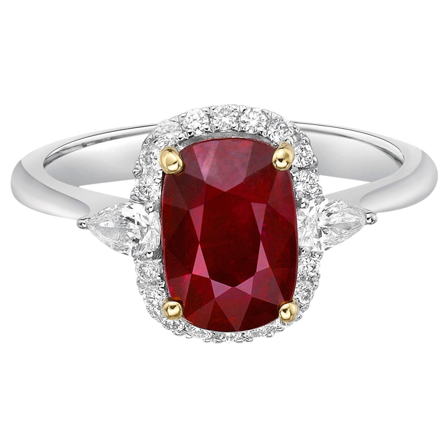 2.17 Carat Vivid Red Ruby GRS Certified Unheated Diamond Ring Cushion Cut