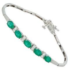 2.17 Carat Oval Emerald Diamond Half Tennis Bracelet 14 Karat White Gold