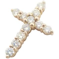 2.17 Carat Rose Gold Diamond Cross Pendant 14 Karat