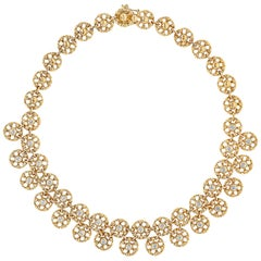 2.17 Carat Round Diamond Open-Work Circle Necklace in Yellow Gold