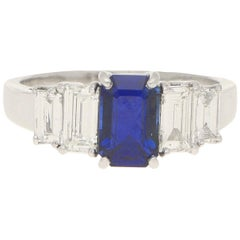 Royal Blue Sapphire and Diamond Five Stone Ring Set in 18k White Gold