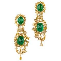 21.71 Carat Natural Emerald Cabochon & 10.61ctw Natural Yellow Diamond Earrings