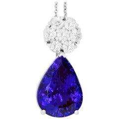 21.71 Carat Pear Shaped Tanzanite and White Diamond Pendant