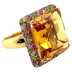 21.73 Carat Octagon Shaped Honey Quartz Ring in 18 Karat Gold with Diamonds