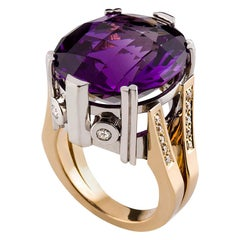21.77 Carat Oval Cut Amethyst and Diamond Cocktail Ring in 18 Carat Gold