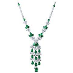 21.77 Carat Pear Shape Emerald and 25.04 Carat Diamond Vine Necklace