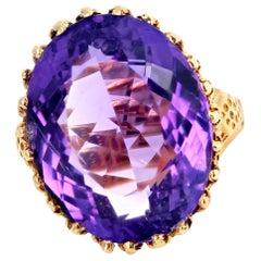 21.78 Carat Sparkling Amethyst Gold Ring