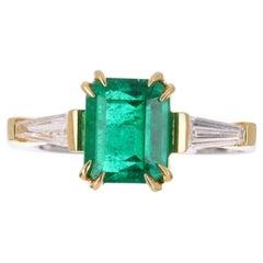 2.17tcw AGL 18K Colombian Emerald, Emerald Cut & Tapered Baguette Diamond Ring