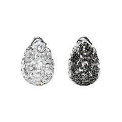 2.18 Carat Black And White Diamond Reversible Drop Earrings Natalie Barney