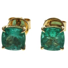 2.18 Carat Colombian Emerald 0.54 Carat in 14 Karat Yellow Gold Stud Earrings