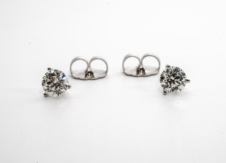 Round Cut 2.18 Carat Diamond Stud Earrings in 14K Martini Setting, by The Diamond Oak For Sale