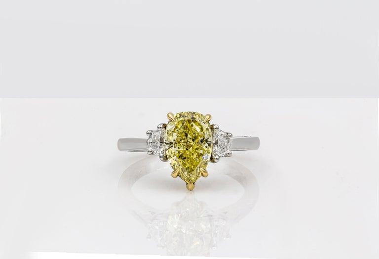 Contemporary Roman Malakov Intense Yellow Pear Shape Diamond Three-Stone Engagement Ring For Sale