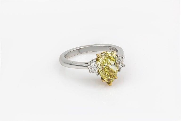 Pear Cut Roman Malakov Intense Yellow Pear Shape Diamond Three-Stone Engagement Ring For Sale