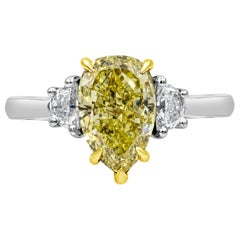 2.18 Carat Intense Yellow Pear Shape Diamond Three-Stone Engagement Ring