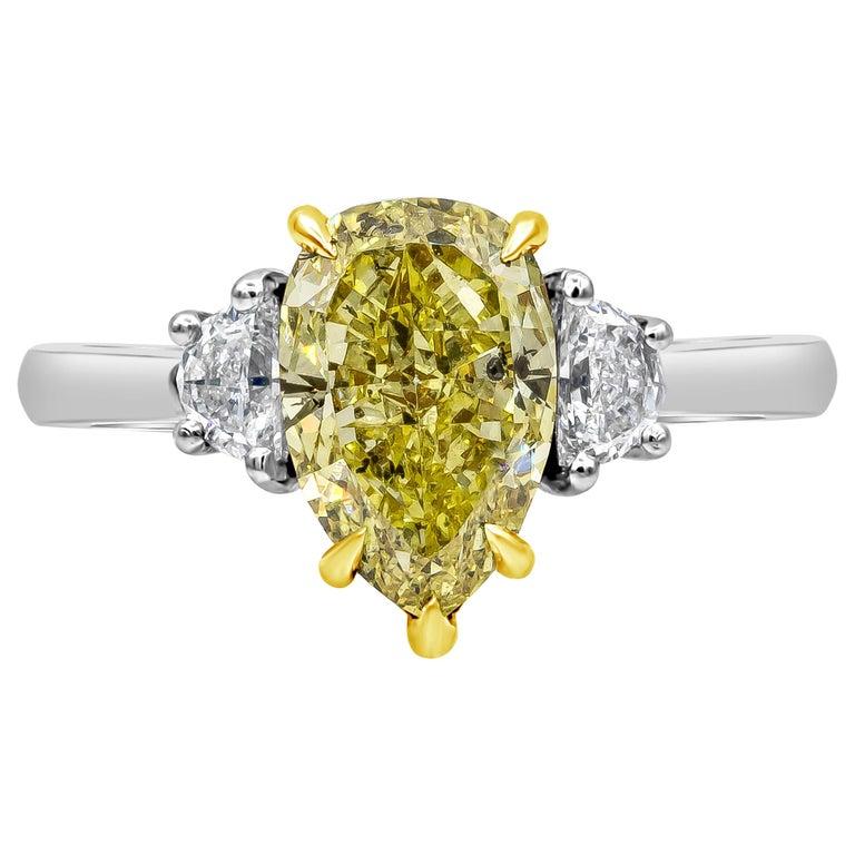 Roman Malakov Intense Yellow Pear Shape Diamond Three-Stone Engagement Ring For Sale