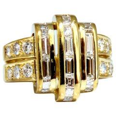 2.18 Carat Natural Diamonds Baguette Cluster Ring 18 Karat Art Deco Style