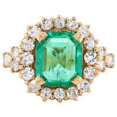 2.18 Carat Natural Emerald and Diamond 18 Carat Yellow Gold Cluster Ring