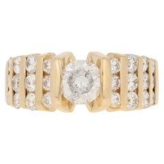 2.18 Carat Round Brilliant Diamond Ring, 14 Karat Yellow Gold