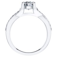 2.18 Carat Round Diamond Twisted 18 Karat White Gold 4 Prong Engagement Ring