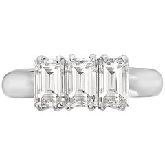 2.18 Carat Trilogy Emerald Cut Platinum Engagement Ring