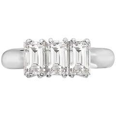 2.18 Carat Trilogy Emerald Cut Platinum Engagement Ring