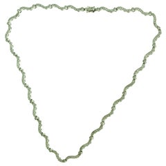 218 Round Brilliant Diamond Wavy Tennis Line Necklace in White Gold