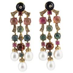21.80 Carat Tourmaline 1.05 Carat Diamond Onyx Pearl Yellow Gold Drop Earrings