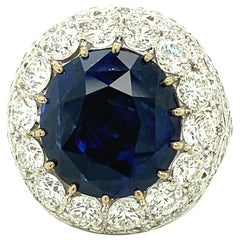 21.81 Carat IGI Certified Ceylon Sapphire and White Diamond Gold Cocktail Ring