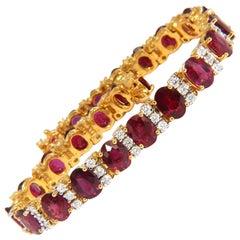 21.86 Carat Natural Fine Vivid Red Ruby Diamonds Tennis Bracelet Classic