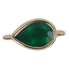 2.18cts 14K Bezel East to West Set Emerald Pear Solitaire Ring