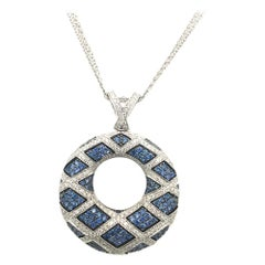 2.19 Carat Blue Sapphire and 1.28 Round Diamonds Pave Circle Pendent White Gold