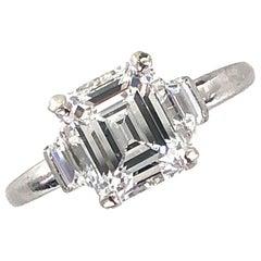 2.19 Carat Emerald Cut Diamond Platinum Engagement Ring GIA Certified