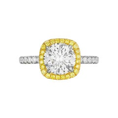 2.19 Carat Conflict Free GIA Round Diamond Halo Fancy Intense Yellow Diamonds