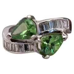 2.19 Carat of Tsavorites and Diamond Gold Ring