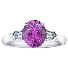 2.19 Carat Pink Oval Sapphire and Diamond Ring