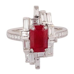 2.19 Carat Ruby & Diamond Ring Studded in 18k Gold