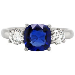 2.19 Carat Sapphire and Diamond Three-Stone Platinum Engagement Ring