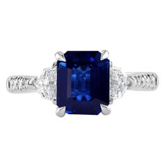 2.19 Carat Sapphire and Diamond White Gold Engagement Ring