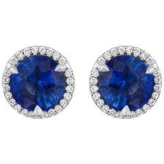 2.19 Carat Sapphire Diamond Earrings