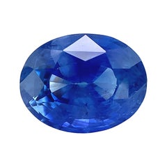 2.19 Ct. Cornflower Blue Sapphire Oval GIA, Loose 3-Stone Engagement Ring Gem