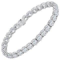 21.90 Carat Round Cut Diamond Platinum Tennis Bracelet