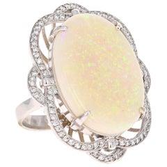 21.93 Carat Opal Diamond 14 Karat White Gold Ring