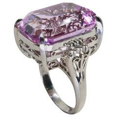 21.95 Ct Emerald Step Cut Pink Kunzite & Diamond Cocktail Ring, Statement Piece