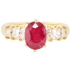 2.196 Carat Ruby and Diamond Cocktail Ring Set in 18 Karat Gold