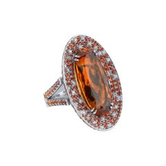 21.99ct Precious Imperial Topaz Sapphire and Diamond Cocktail Ring 18KW